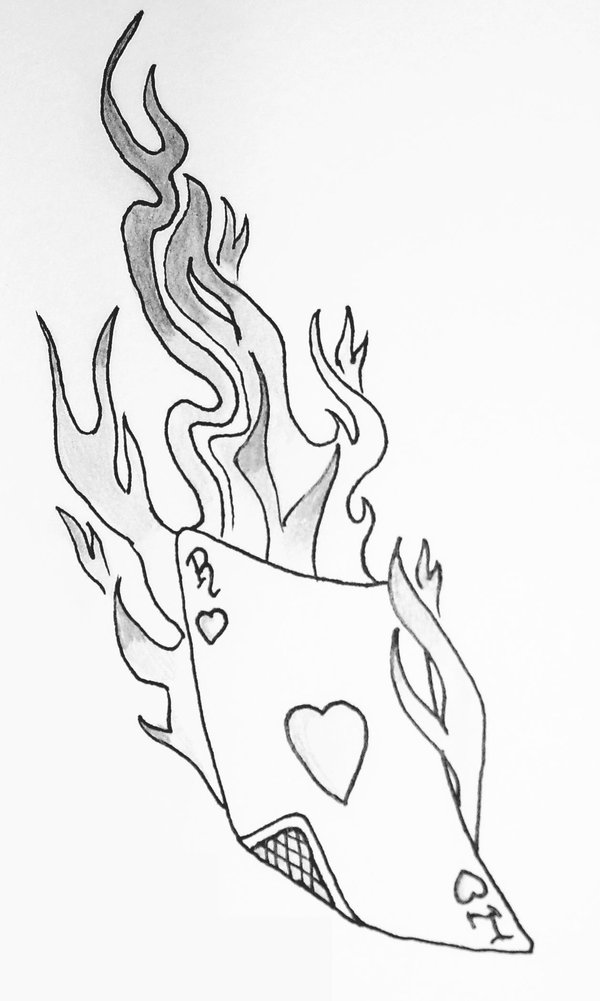 Black Playing Card In Flame Tattoo Stencil