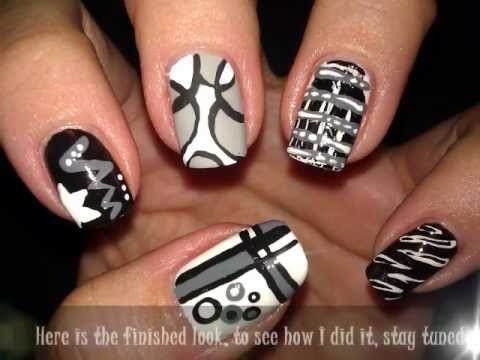 Black White And Gray Nail Art Tutorial Video
