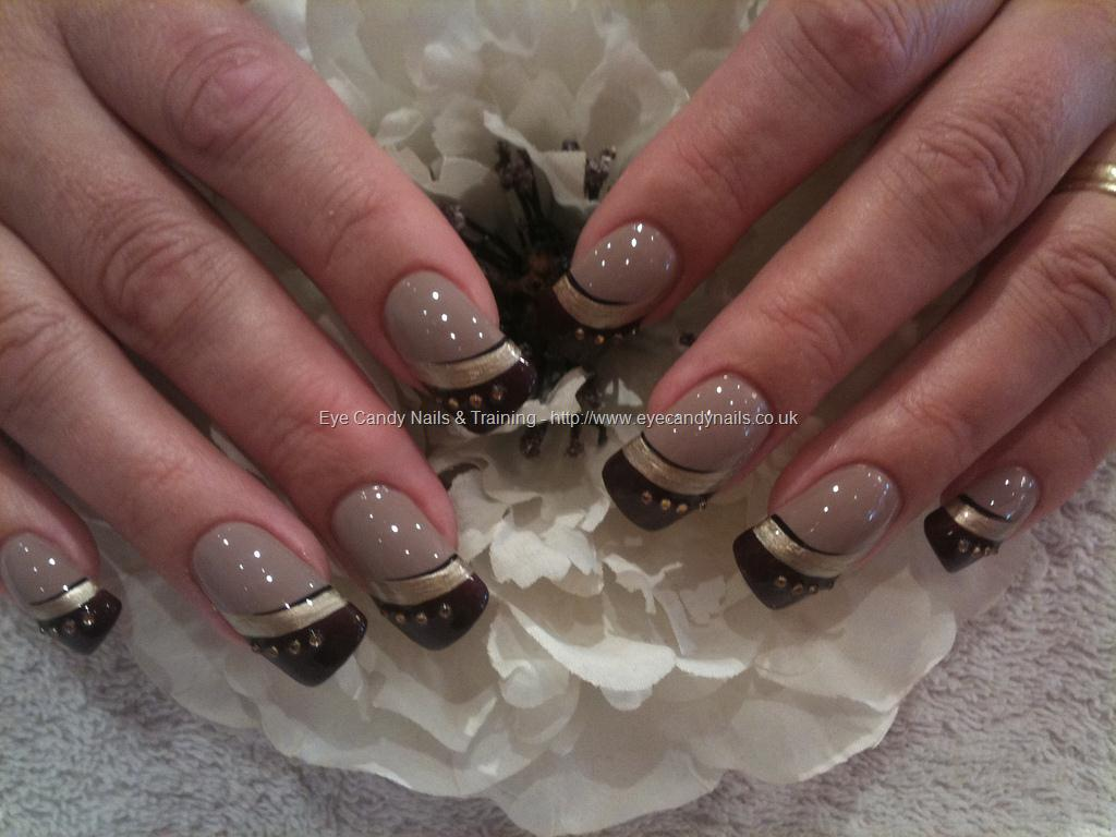 brown and gold freehand nail art