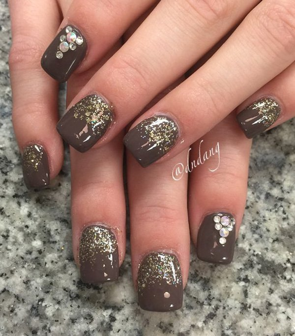 55 stylish brown nail art ideas for Nageldesign beige gold