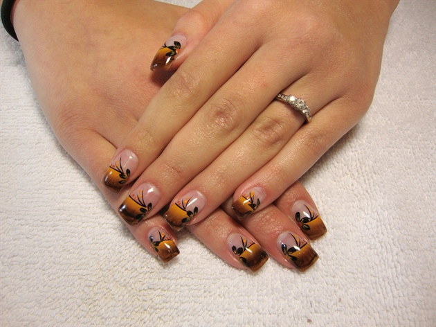 Orange and brown nail designs images nail art and nail design ideas 55 stylish brown nail art ideas brown and orange tip design with black flowers nail art prinsesfo Image collections
