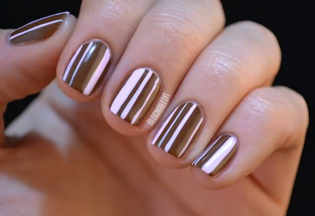 50 classy brown nail art design ideas brown and pink stripes design nail art prinsesfo Images