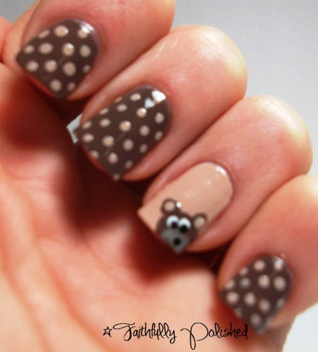 Nail Art Designs With Brown And White Hession Hairdressing