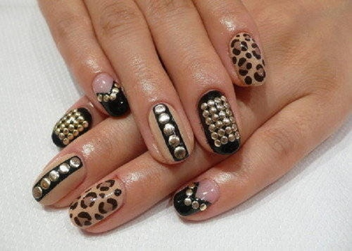 Nail Art Design Ideas 25 best ideas about pink nail designs on pinterest pink nails acrylic nail designs and glitter nails Brown Leopard Print With Caviar Beads Design Nail Art Idea