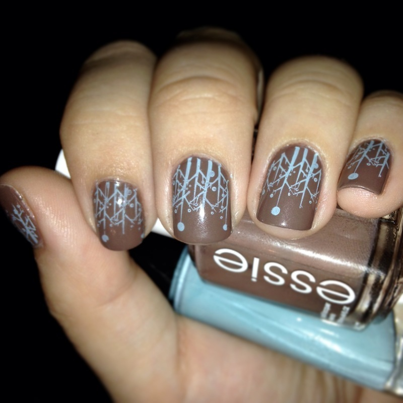 Brown Nails With Blue Stamped Design Nail Art - 15 Best Brown And Blue Nail Art Designs