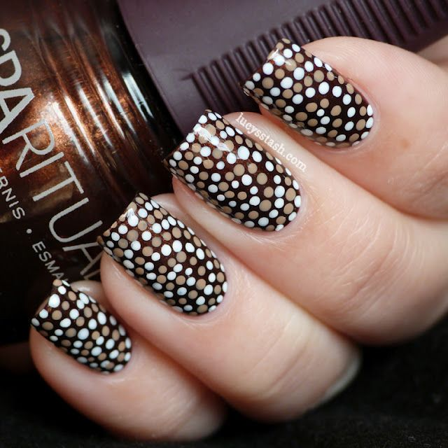 Brown nails with dotted design nail art prinsesfo Image collections