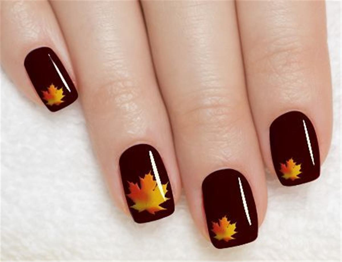 Brown Nails With Maple Leaf Design Nail Art Idea - 55+ Stylish Brown Nail Art Ideas