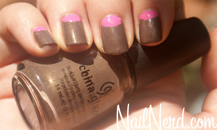 55 stylish brown nail art ideas brown nails with pink half moon reverse french tip nail art prinsesfo Image collections