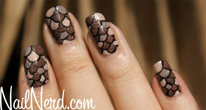 Brown scale design nail art idea prinsesfo Image collections