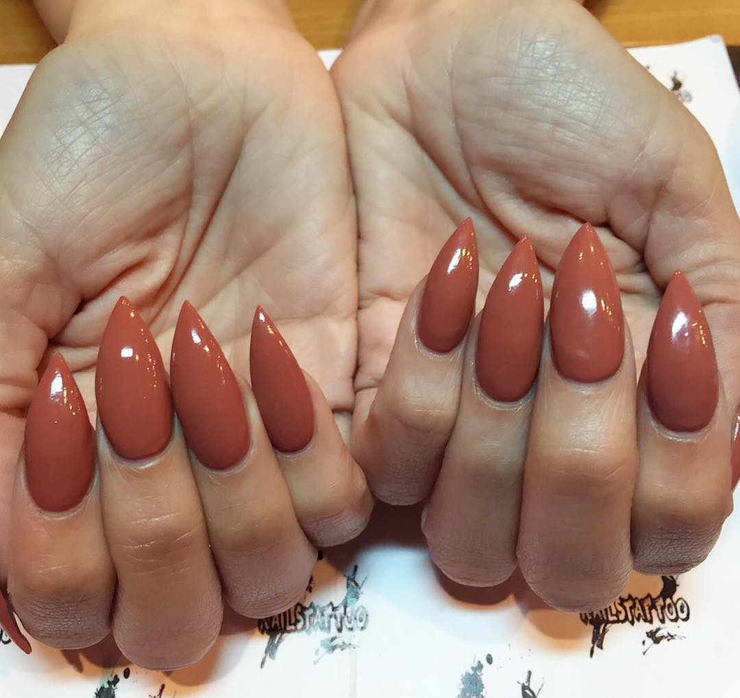 50 most beautiful brown nail art ideas brown stiletto nail art design idea prinsesfo Image collections