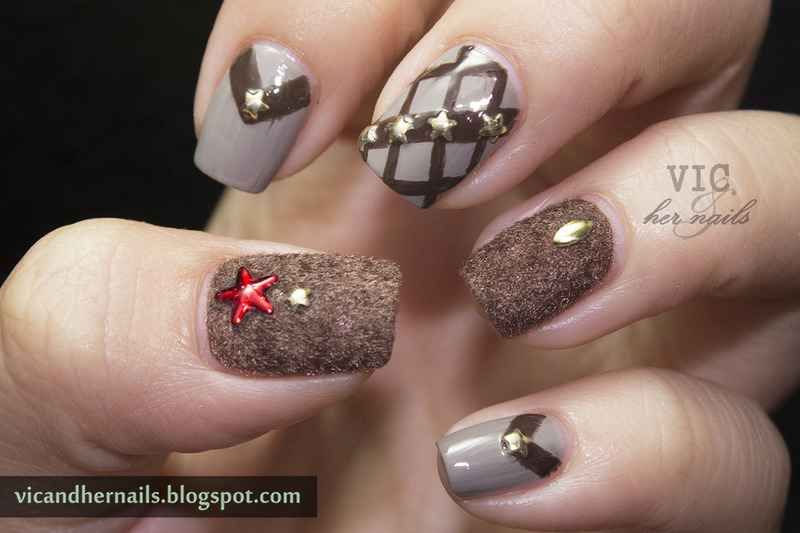 Brown Velvet Nails With Star Studs Design Nail Art - 55+ Stylish Brown Nail Art Ideas