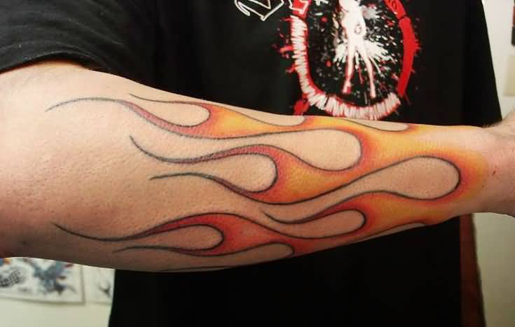 2bd92fb206496 Burning Flames Tattoo On Arm Sleeve For Men