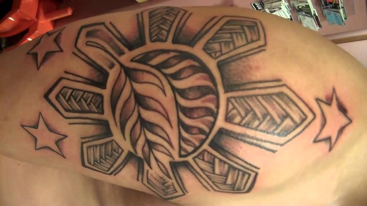 d948bd38806c2 Classic Filipino Tribal Sun Tattoo On Arm Sleeve