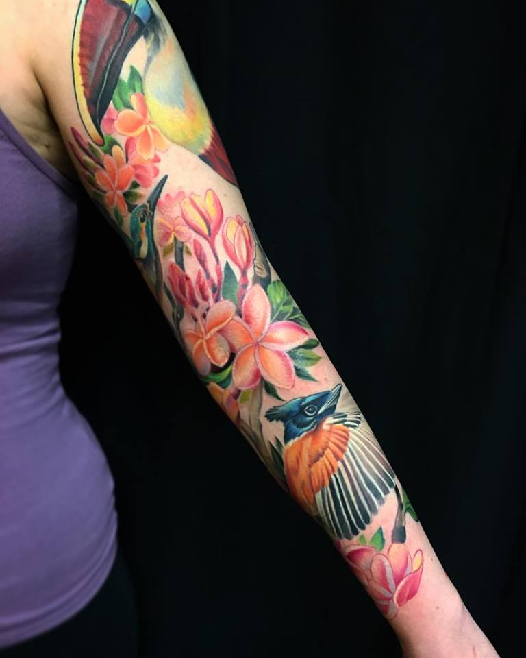 Colored Sleeve Tattoo Of Birds: Rose Flower And Wolf Tattoo On Left Half Sleeve By Melissa
