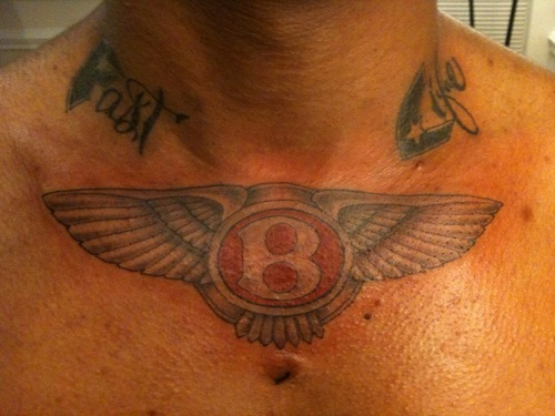 Colored Bentley Logo Tattoo For Men