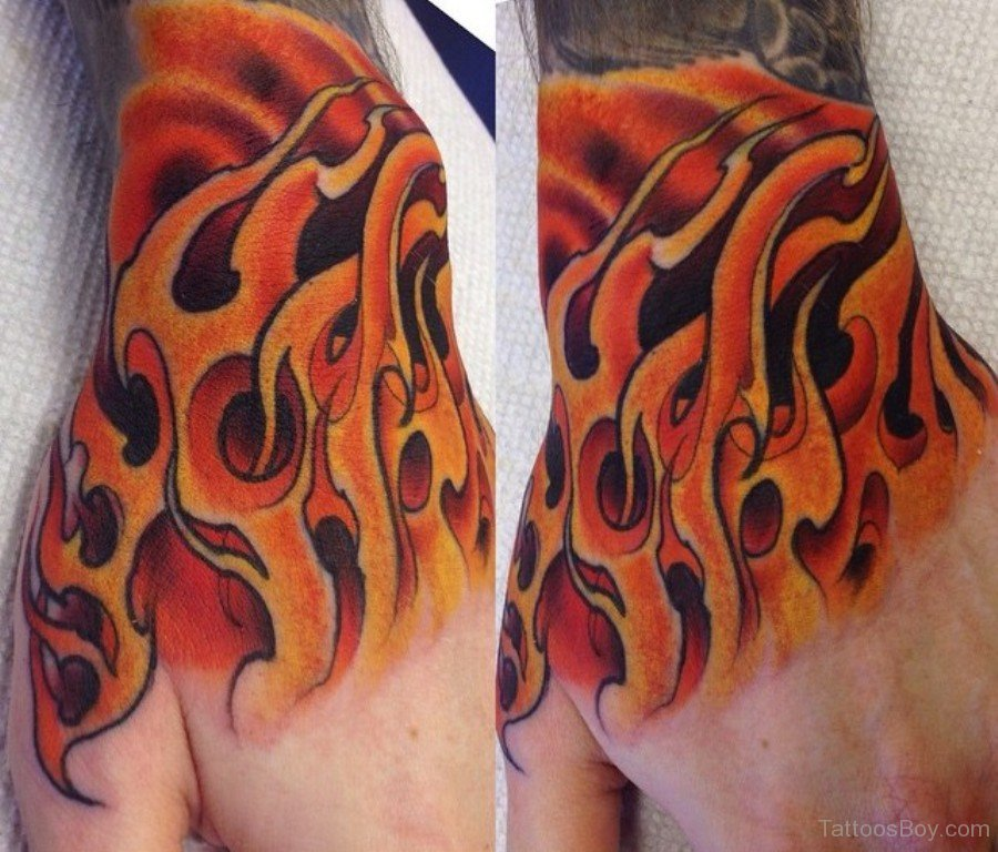 stylish flame tattoo on arm sleeve. Black Bedroom Furniture Sets. Home Design Ideas