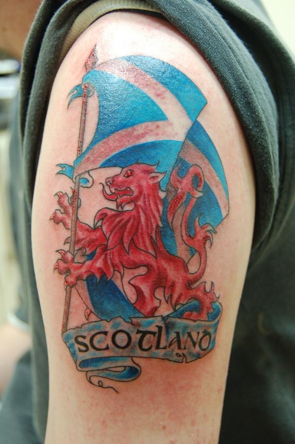 a527bab19 Colorful Scottish Flag With Lion Logo Tattoo On Shoulder
