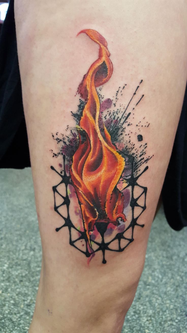 Cool Flames Tattoo On Fingers