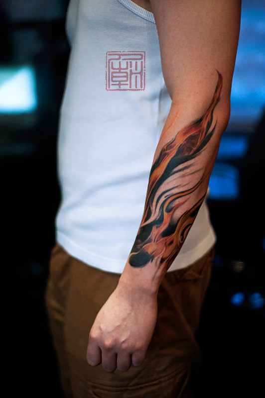 cool flaming arm sleeve tattoo. Black Bedroom Furniture Sets. Home Design Ideas