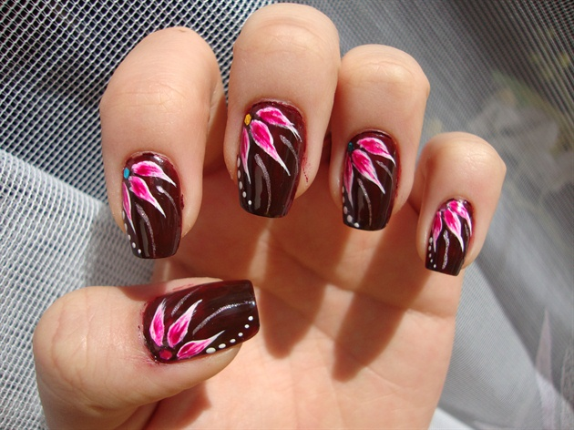 55 stylish brown nail art ideas dark brown nails with pink flower design nail art prinsesfo Image collections