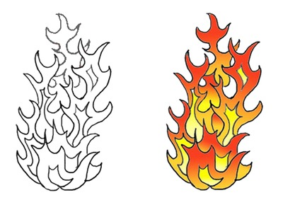 Different color flame tattoos stencil
