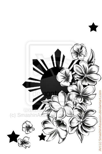 35d58e967 Filipino Sun And Flowers Tattoo Design