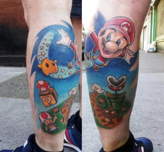 Flying Super Mario Tattoo On Back Leg