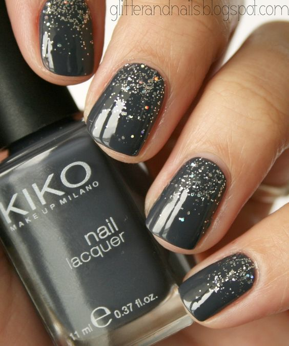 Glossy Gray And Glitter Nail Art