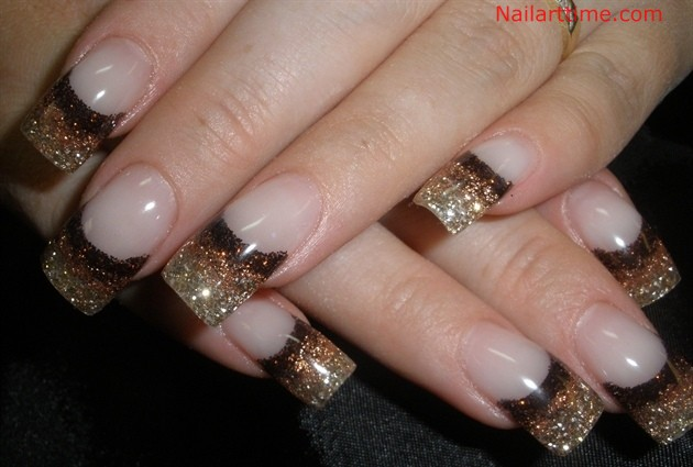 Gold And Brown Glitter Tip Nail Art