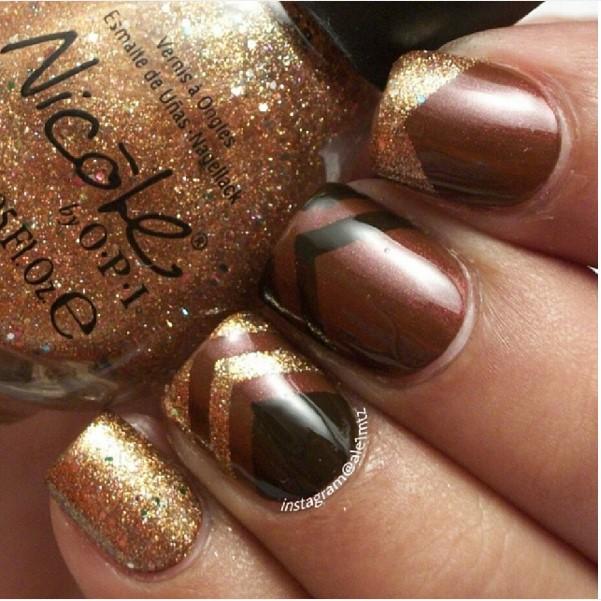 Gold And Brown Nail Art