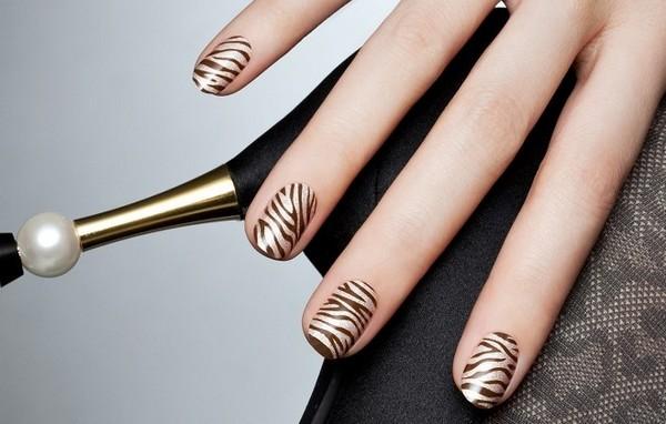 55 stylish brown nail art ideas gold and brown zebra print nail art idea prinsesfo Images
