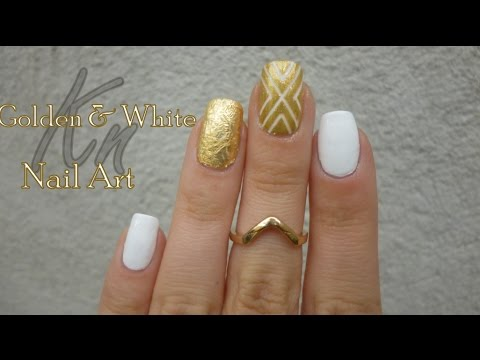 Gold And White Nail Art Design Idea With Tutorial Video