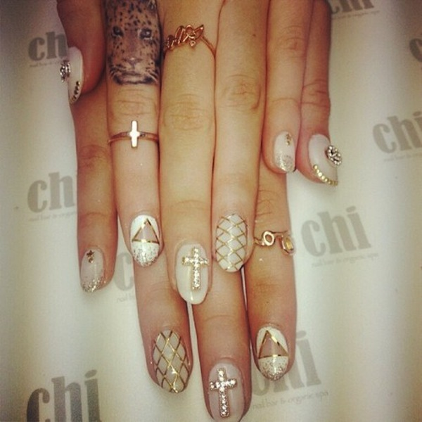 Asian nail art designs best nails 2018 55 stylish white and gold nail art design ideas prinsesfo Gallery