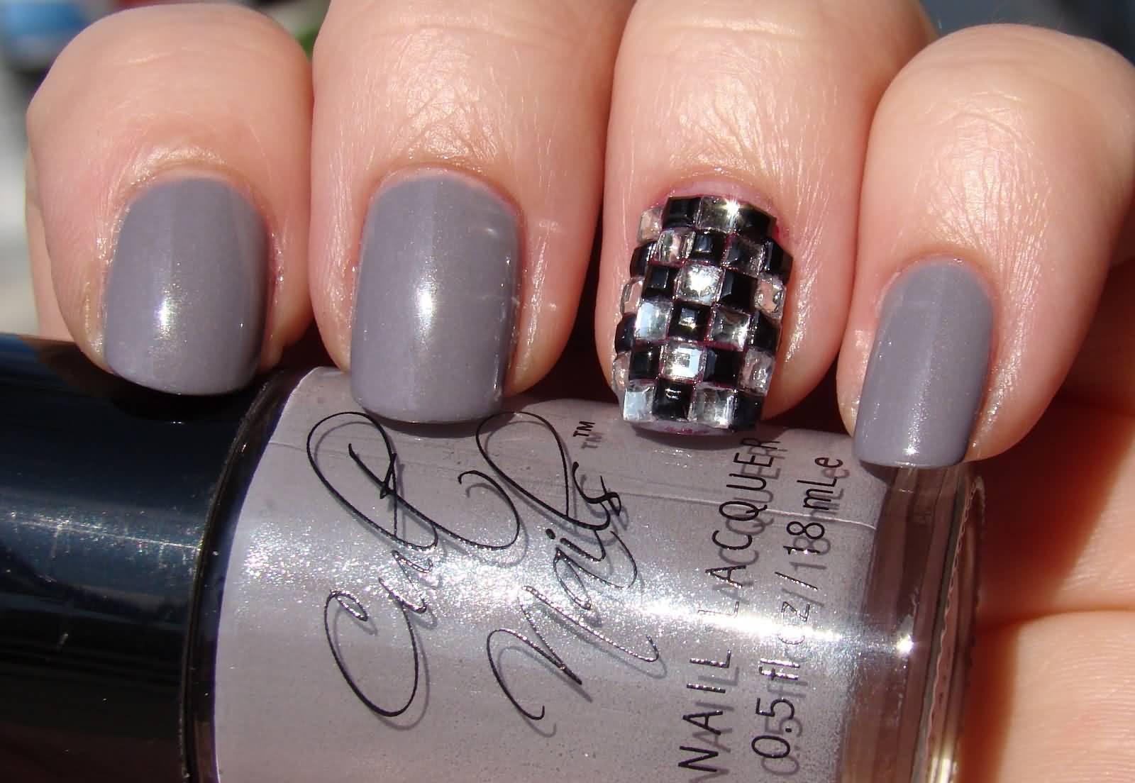 20 Stylish Acrylic Gray Nail Art Design