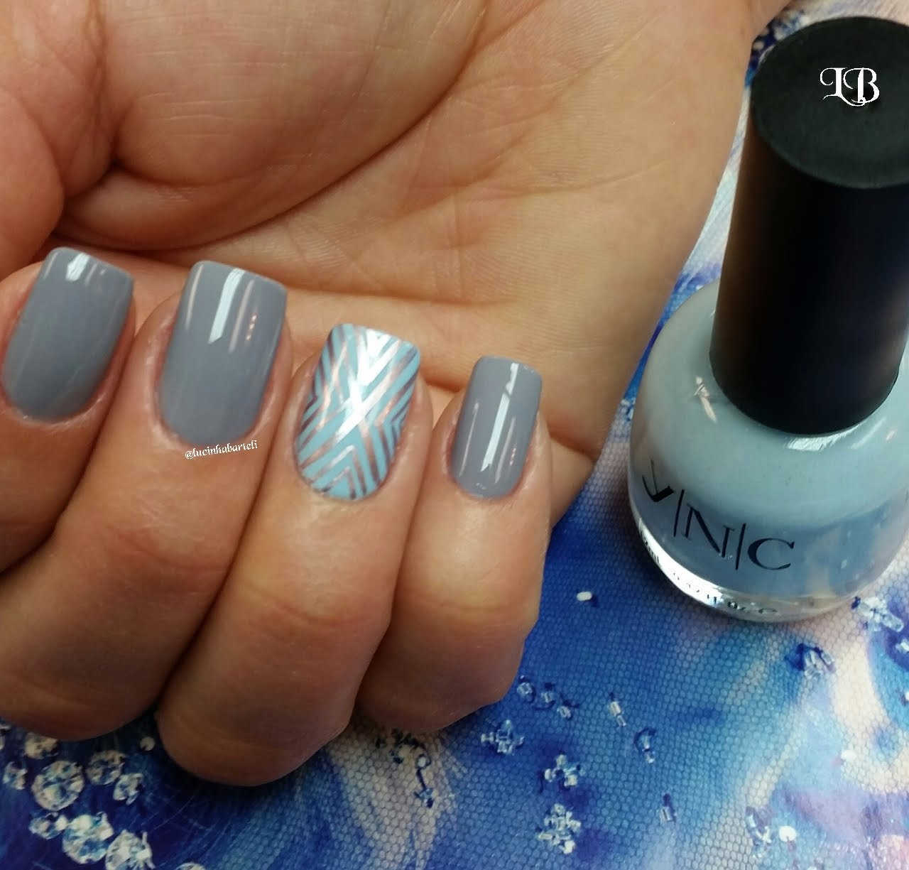 Gray And Blue Accent Design Nail Art With Tutorial Video