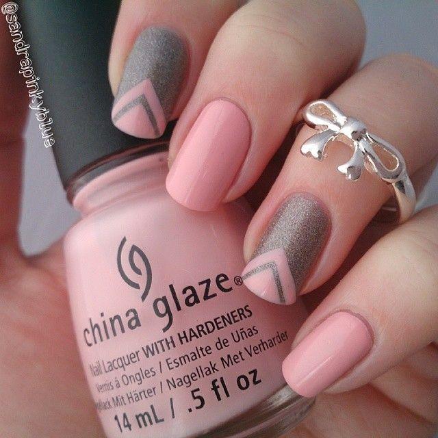 Gray And Pink Nail Art Design Idea - 50+ Most Stylish Gray And Pink Nail Art Design Ideas