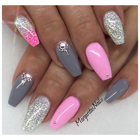 50 most stylish gray and pink nail art design ideas - Nageldesign beige gold ...
