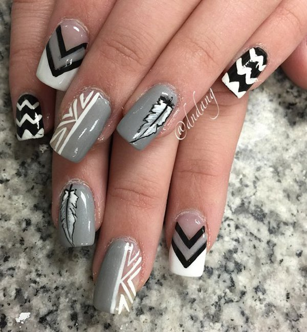 45+ Cool Gray And White Nail Art Design Ideas