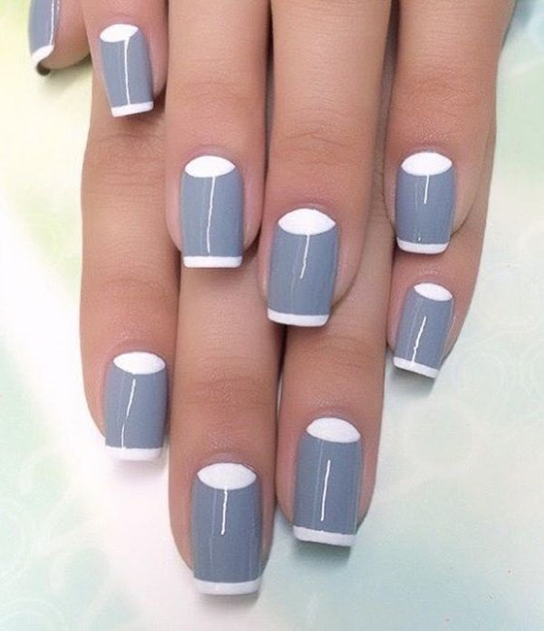 Half Well Nail Tips: 45+ Cool Gray And White Nail Art Design Ideas