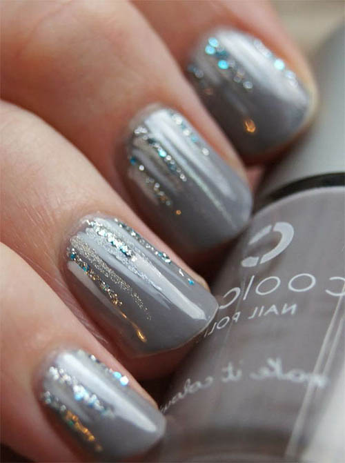 55 most beautiful gray nail art design ideas gray glitter nail art prinsesfo Gallery