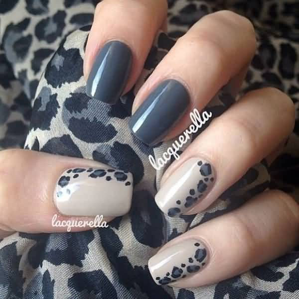Gray Leopard Print Nail Art