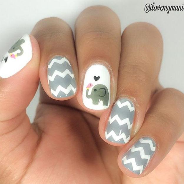 Cute Nail Art: 45+ Cool Gray And White Nail Art Design Ideas
