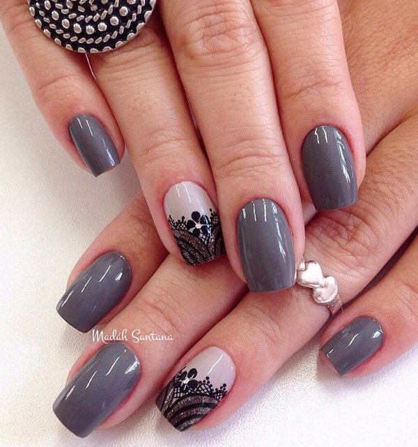 Gray Nails With Black Flower Design
