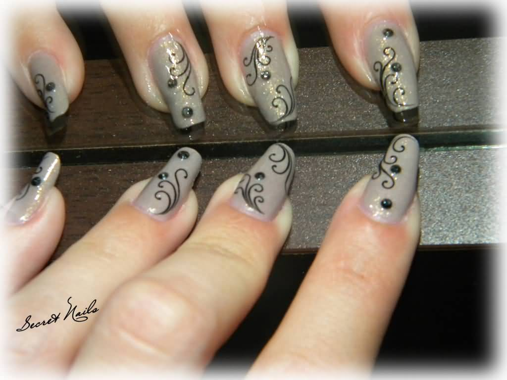 Gray Nails With Black Swirl Design Nail Art