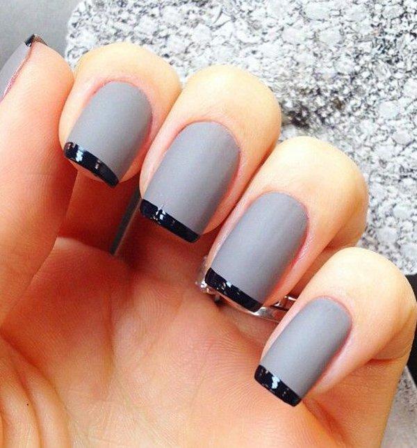 Gray Nails With Black Tip Design Nail Art