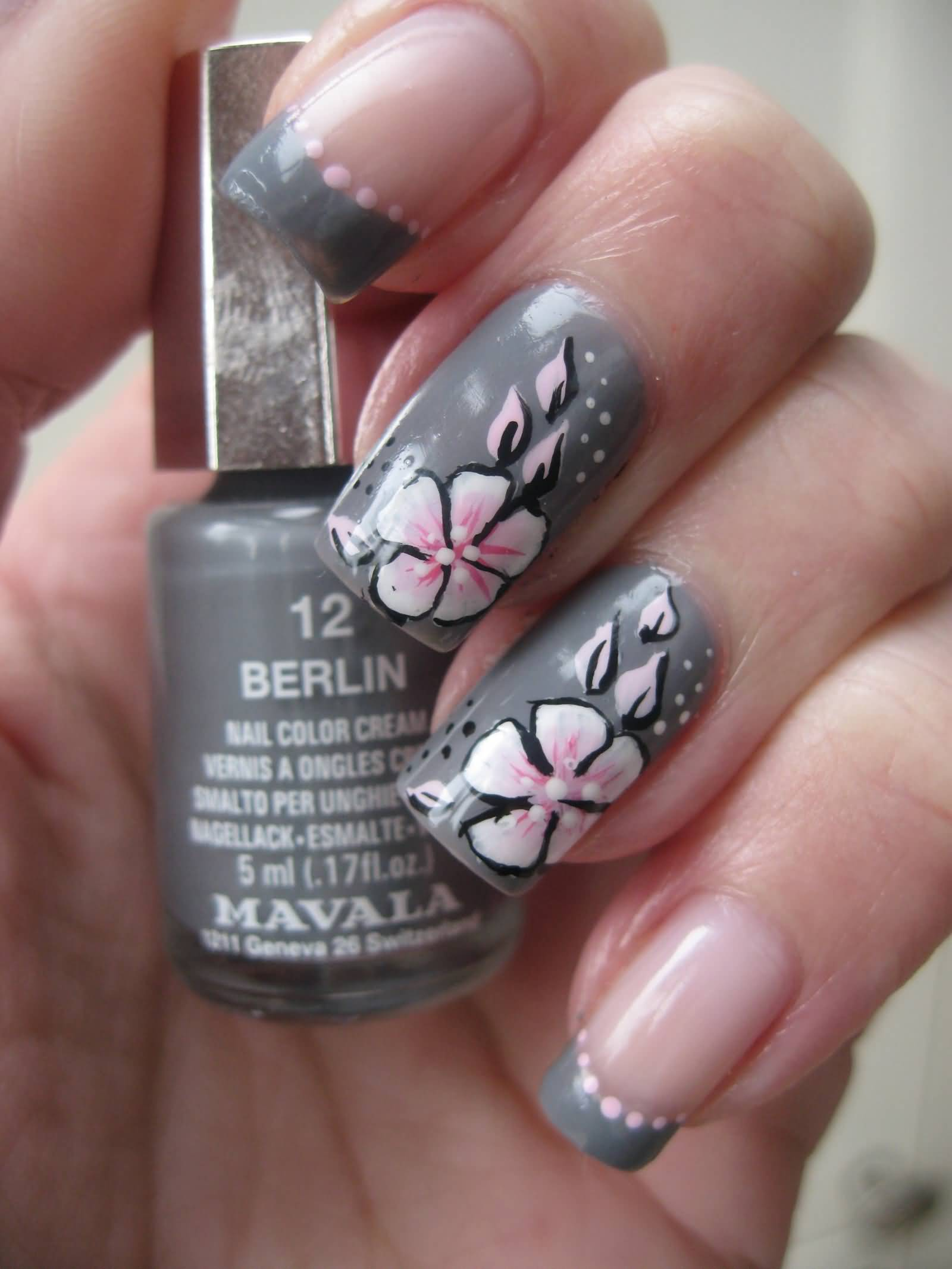 Gray Nails With Pink One Stroke Flowers Nail Art Video Tutorial