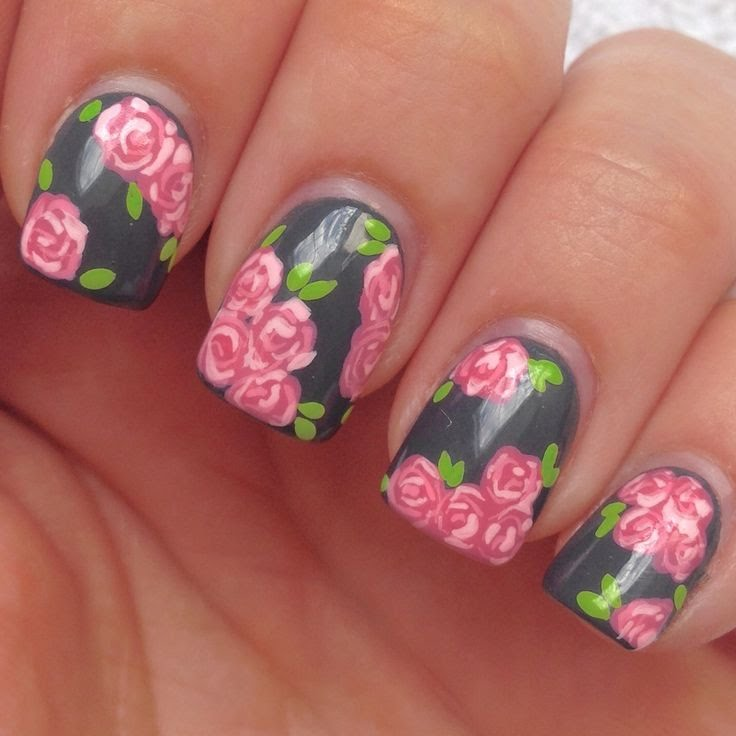 Gray Nails With Pink Rose Flowers Nail Art With Tutorial Video