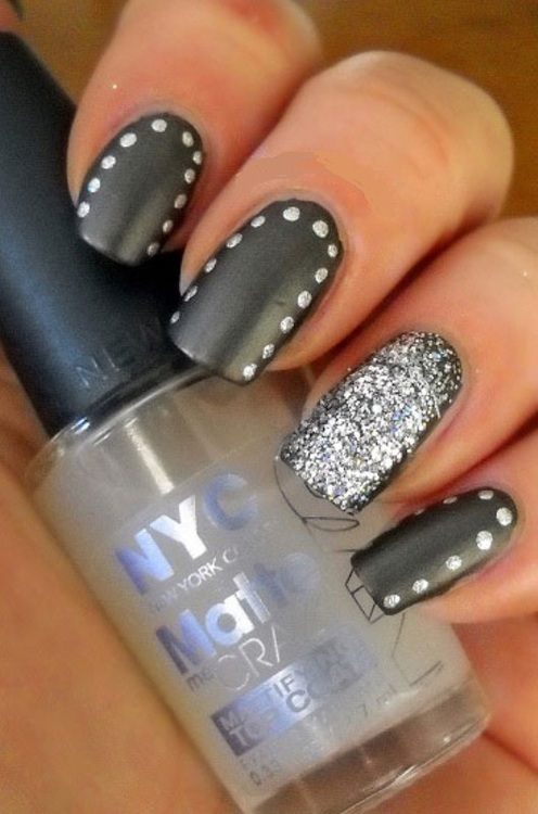 Gray Nails With Polka Dots Design Nail Art - 55 Most Beautiful Gray Nail Art Design Ideas