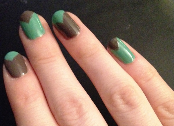 Nail design v beautify themselves with sweet nails green and brown v shaped design nail art idea prinsesfo Choice Image