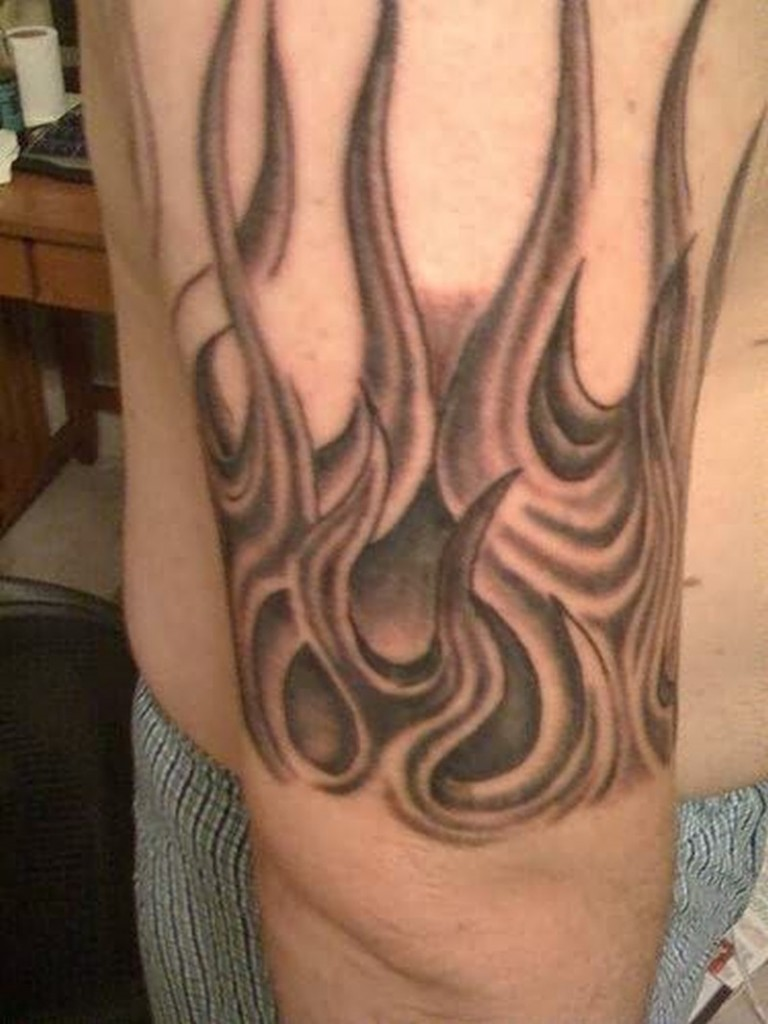 grey flames tattoo on half sleeve. Black Bedroom Furniture Sets. Home Design Ideas